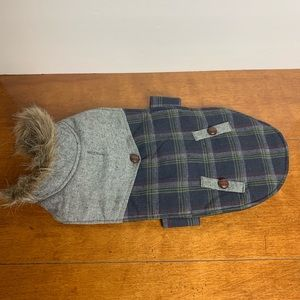 Doggy jacket fur collar gray/blue plaid adjust Med